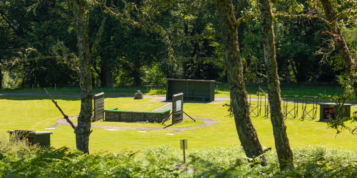 Clay pigeon shooting ground stand