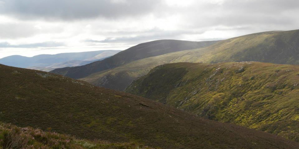Scottish grouse moor with deep valleys