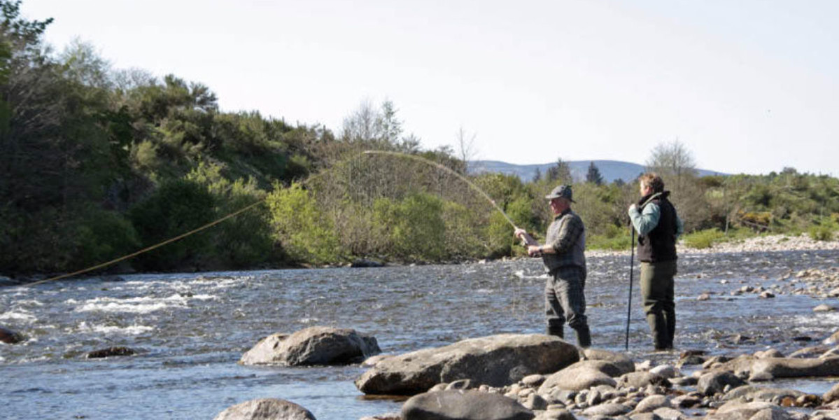 Salmon fishing with a ghillie on a salmon river in Scotland