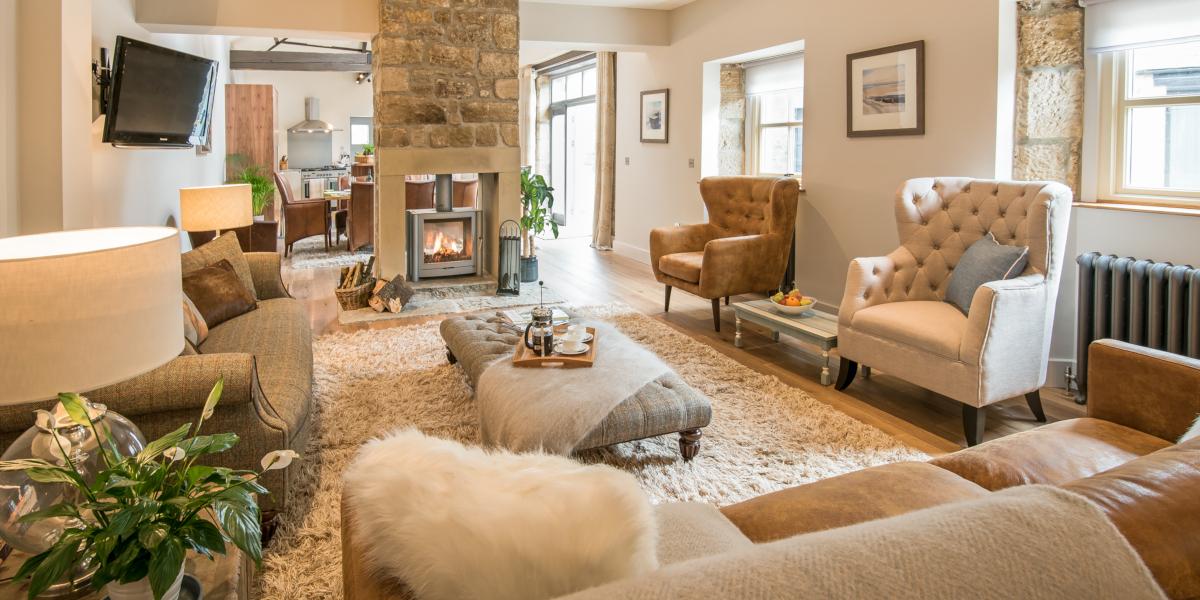 intérieur de la maison avec poêle à bois et sièges confortables