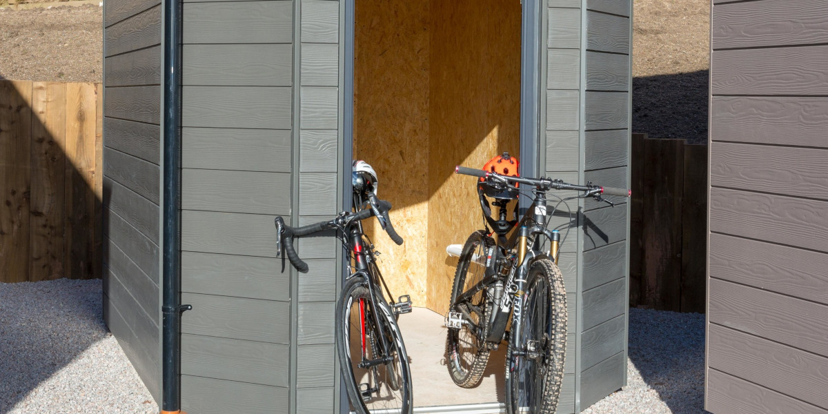 storage shed with 2 bicycles