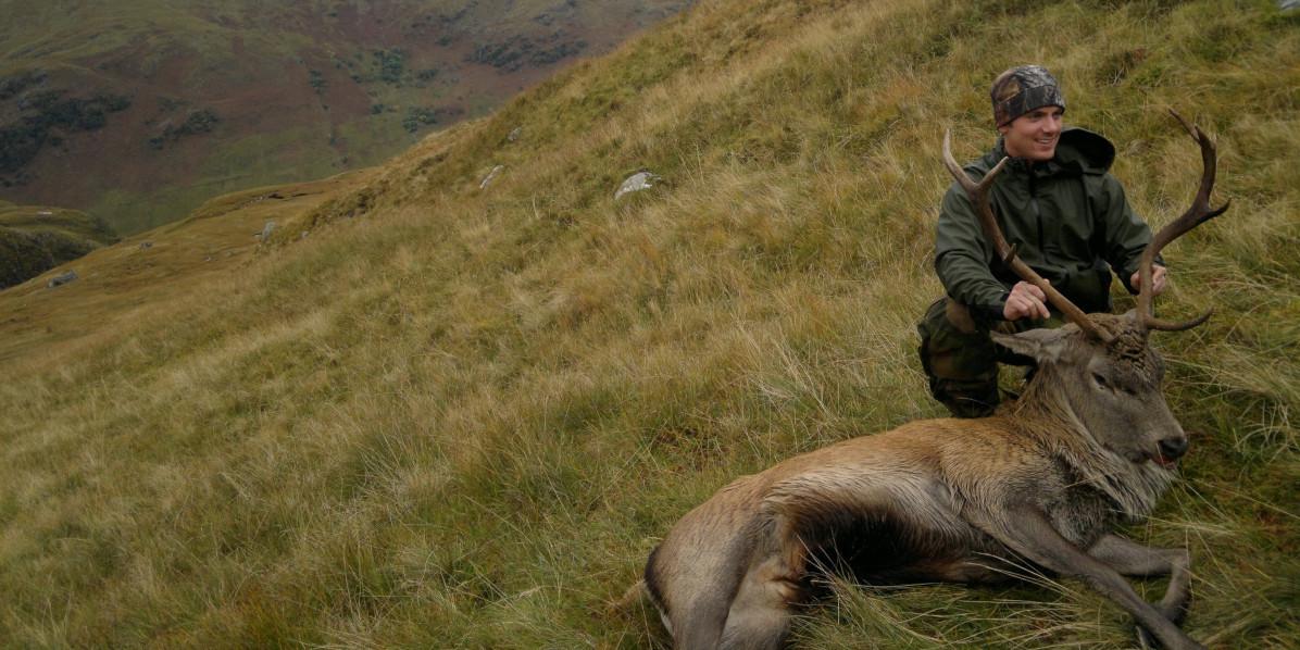 hjortstalker med skotsk röd hjort på sluttning