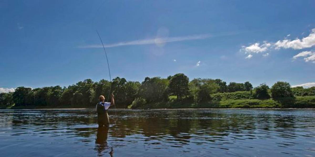 Mann Fliegenfischen sonnigen Tag Fluss Tay Schottland
