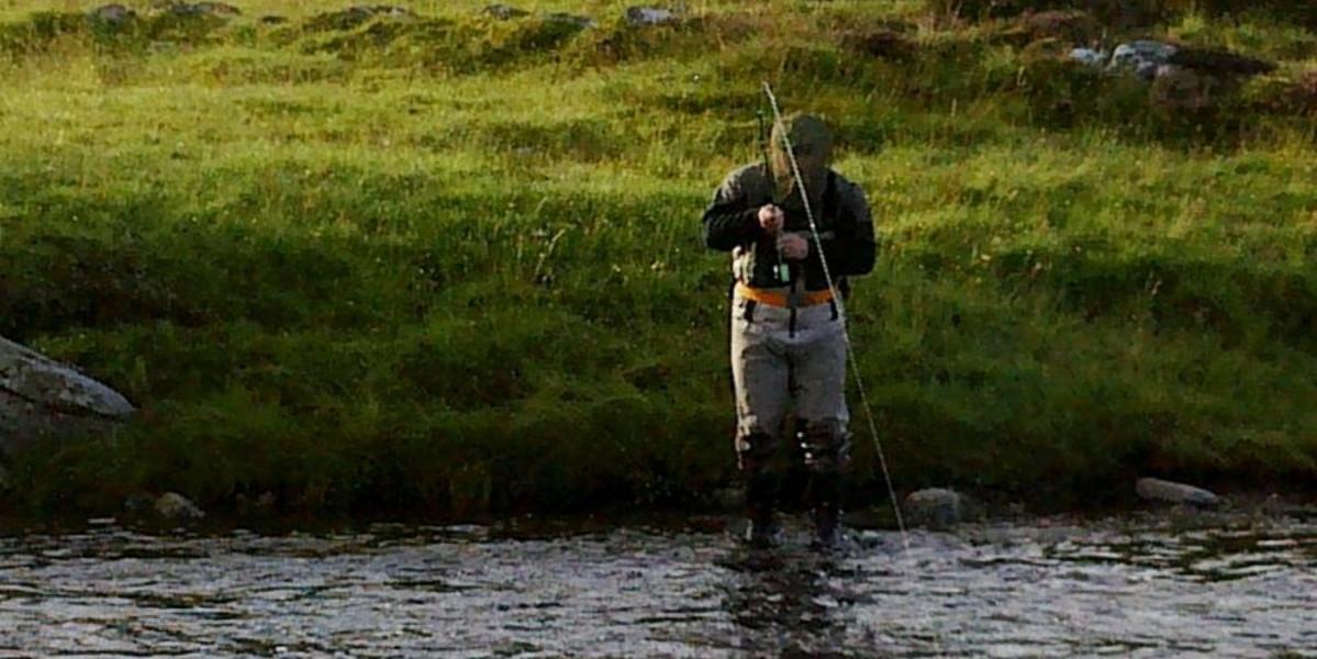 Skotsk laxfiskare i vadare