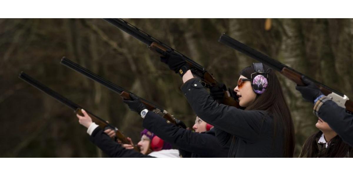 Line of lady guns shooting Scotland