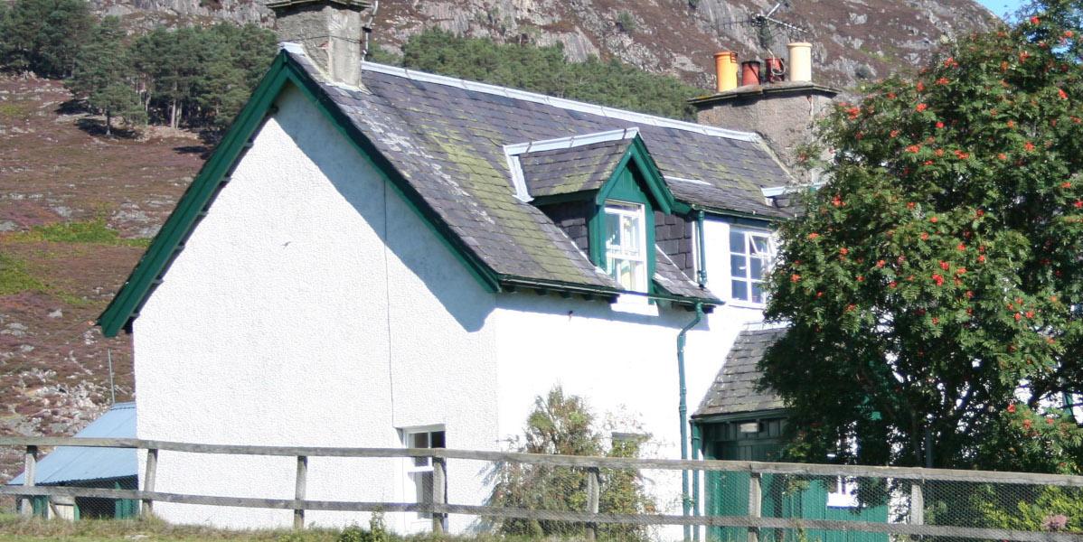 white washed 2 storey Scottish cottage with green woodwork