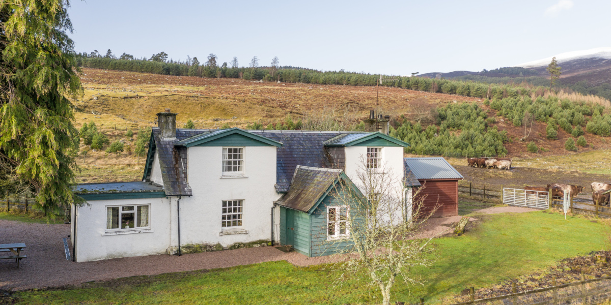 white washed with green woodwork Scottish cottage