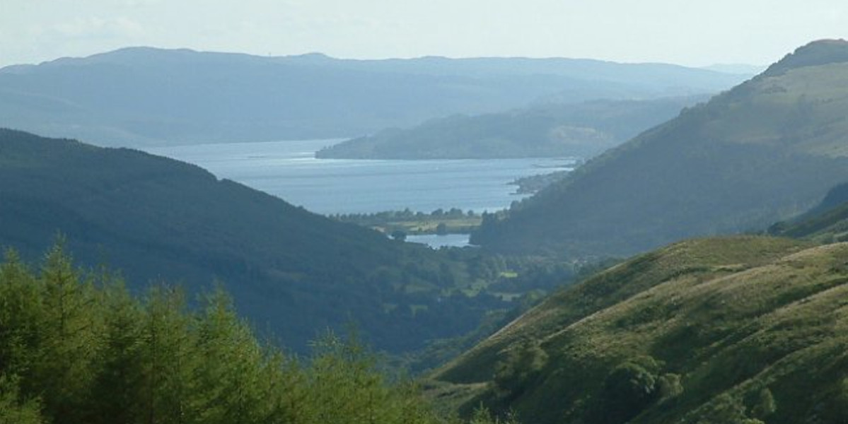 view of hills and Scottish sea loch