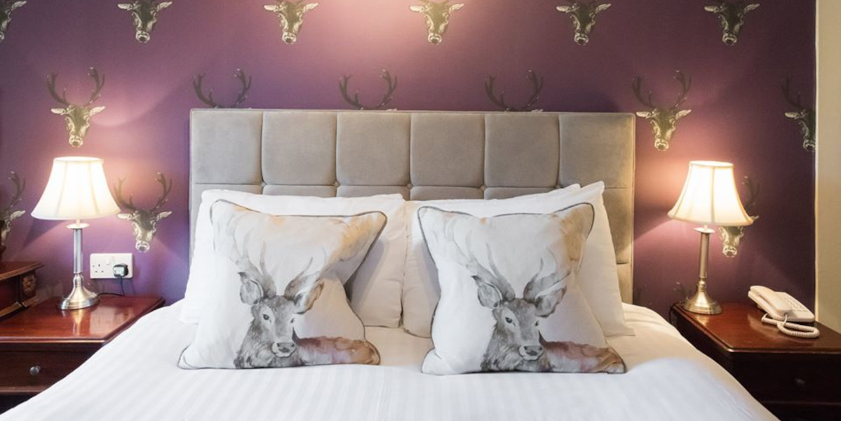 hotel bedroom decorated with red stag wall paper and cusions