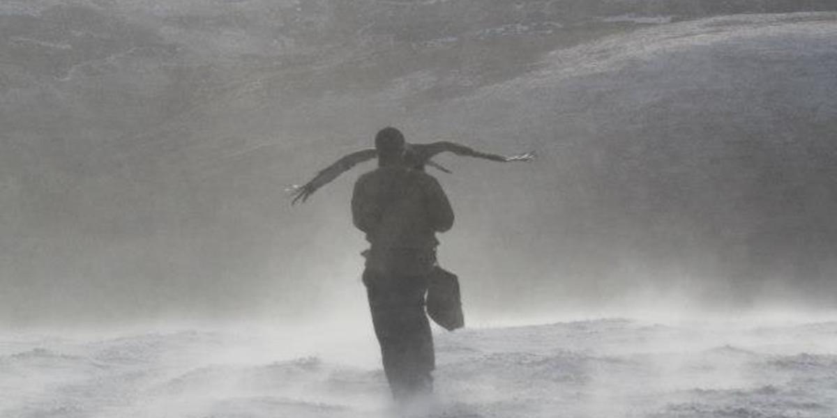 Falkner mit Adler im Schneesturm