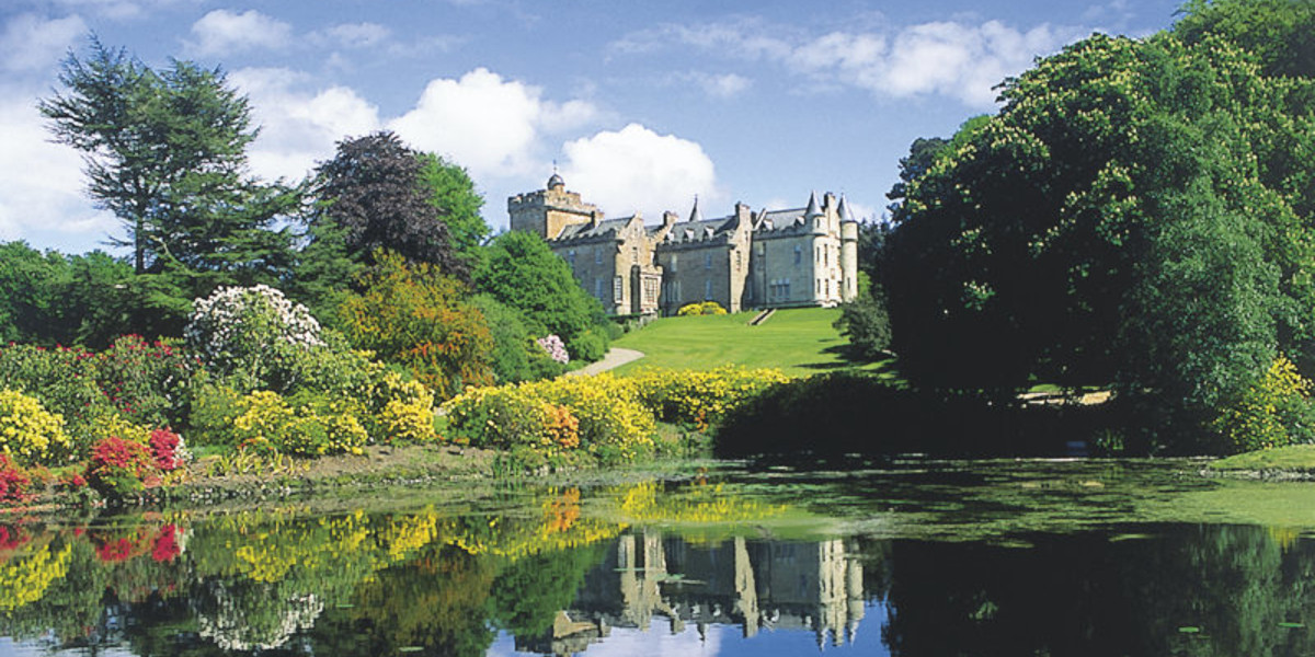 glenapp castle with pond and azaleas