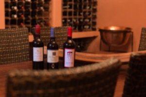 Wine cellar with 3 bottles of red wine on table