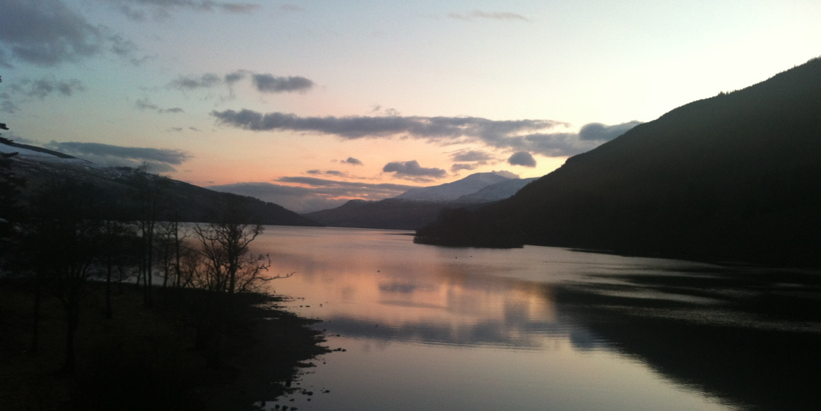 Sunset over Loch Tay with mountains