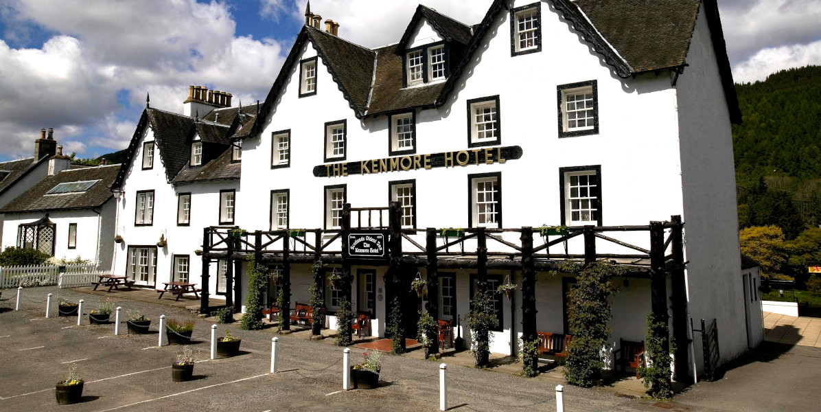 The Kenmore Hotel white washed with black window highlights