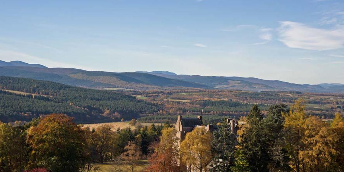 Scottish Castle in trees autumn