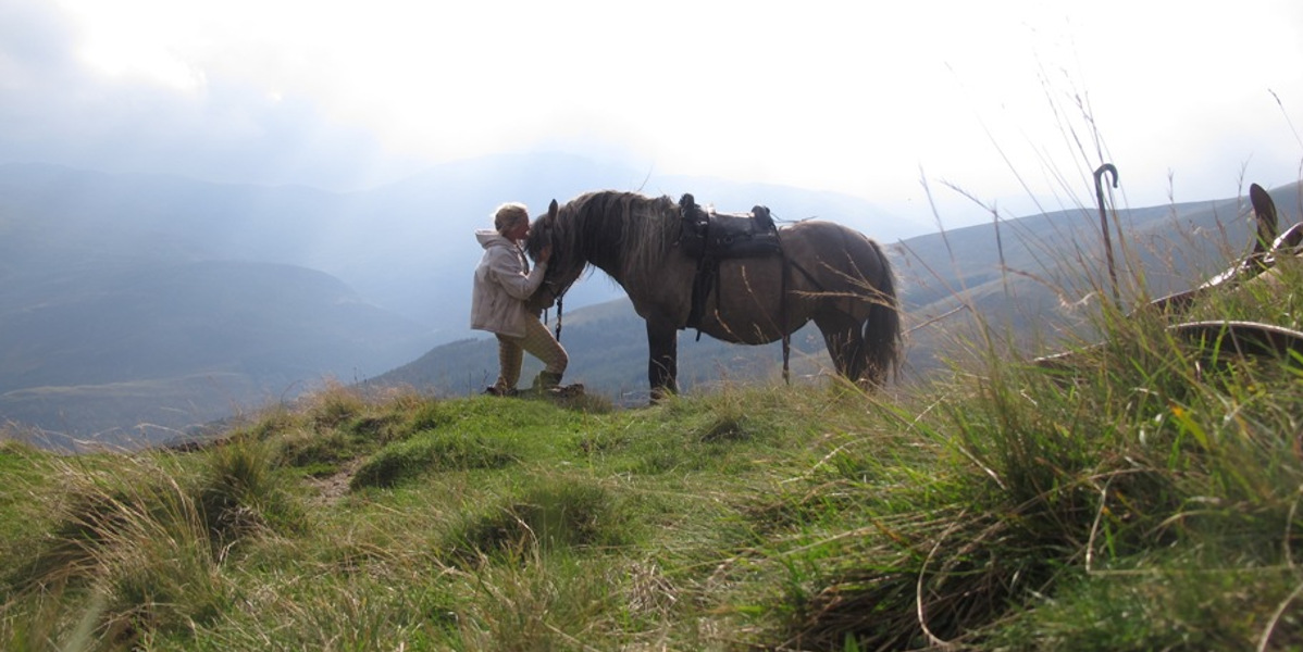 hill pony and handler