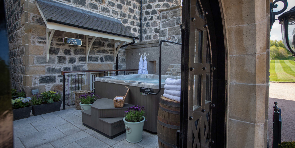 outdoor hot tub in courtyard