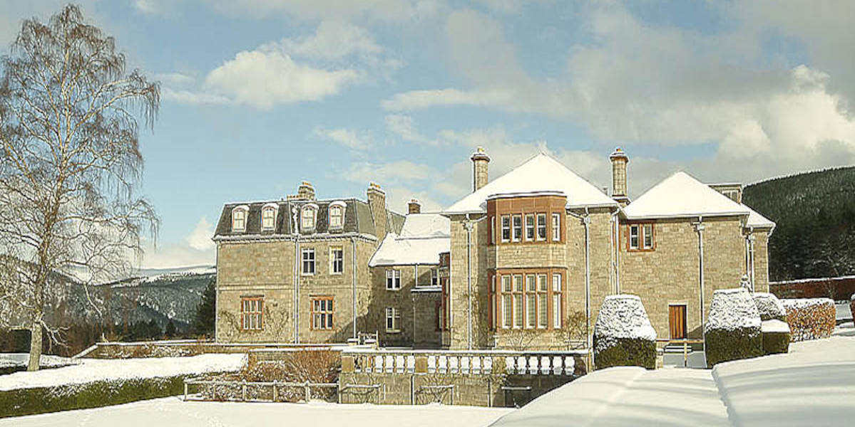 Scottish country house in snow