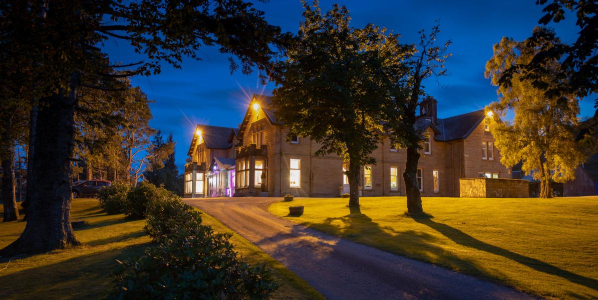 floodlit Scottish lodge hotel