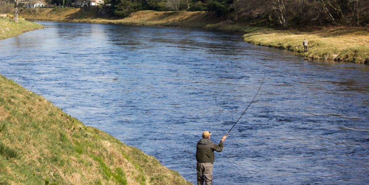 salmon fisher on large river