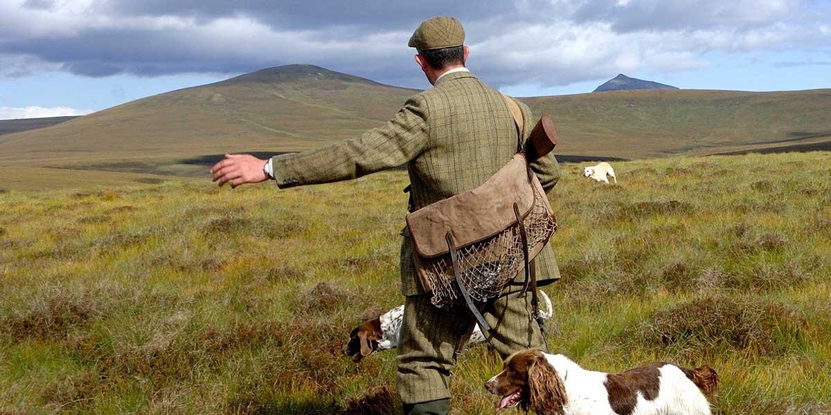 Wildhüter mit Hund am Hang