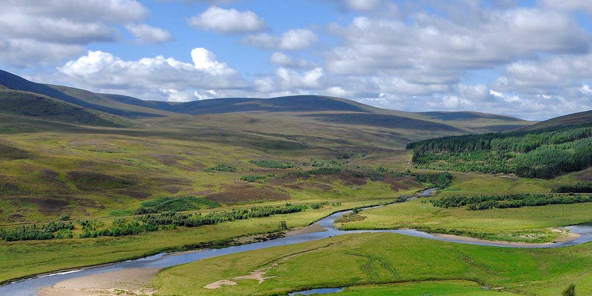 Fluss in einer offenen Landschaft