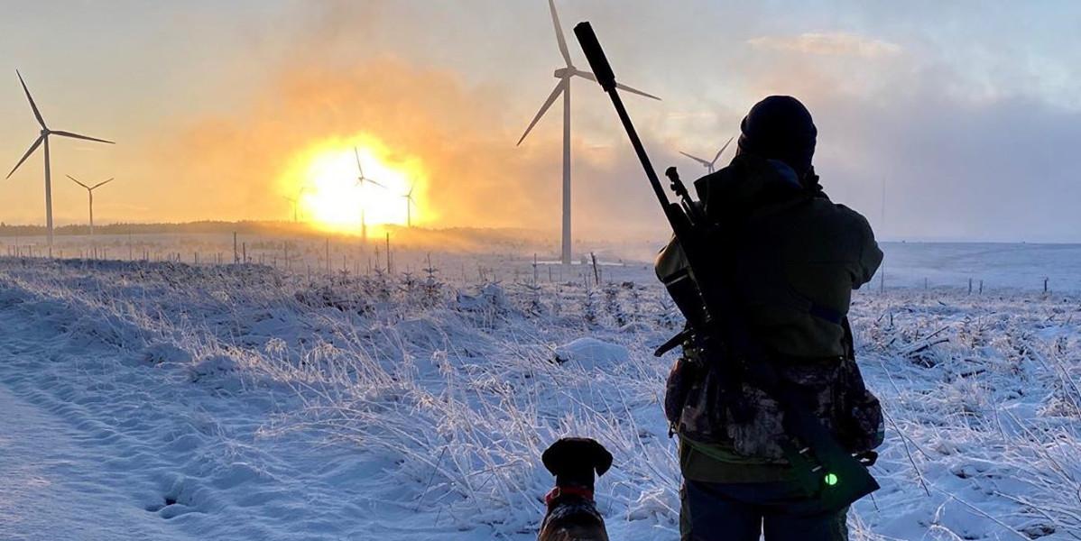 harceleur avec fusil et chien dans la neige