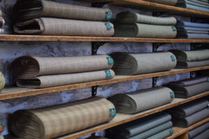 display of tweed rolls
