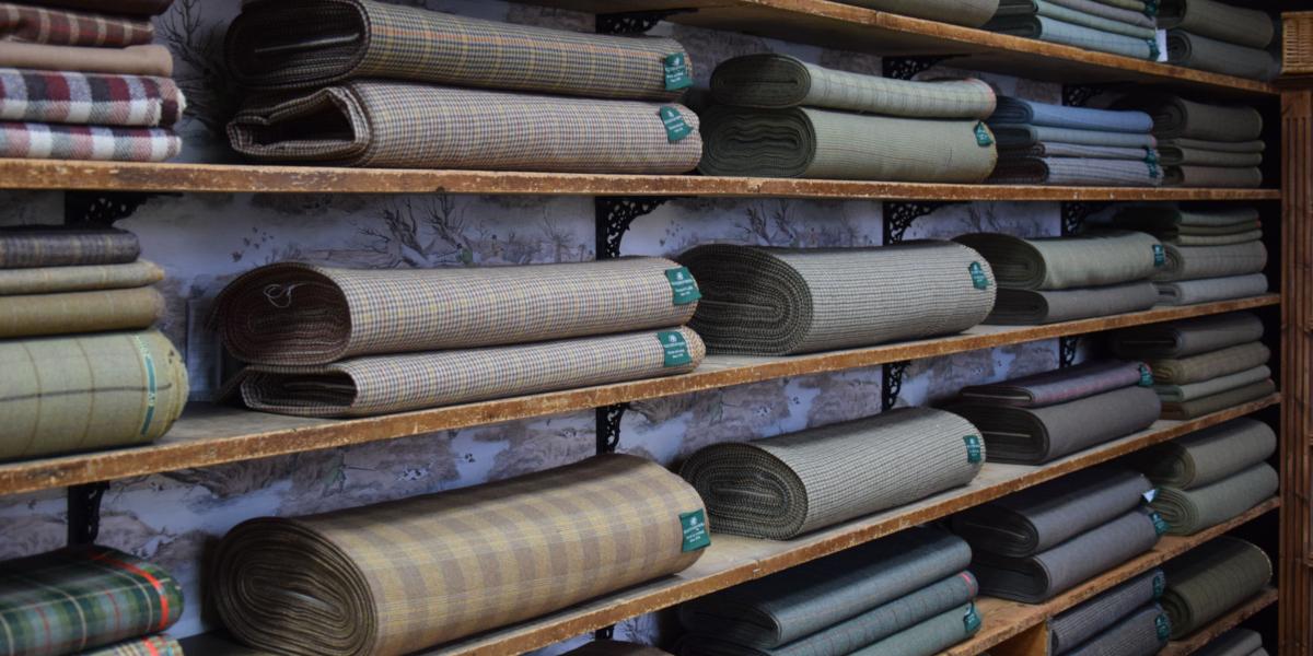 affichage des rouleaux de tweed