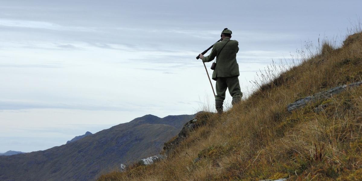 stalker standing on crest using telescope