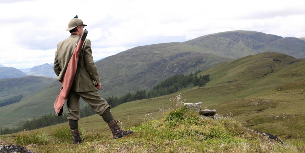 Scottish highland deer stalker standing