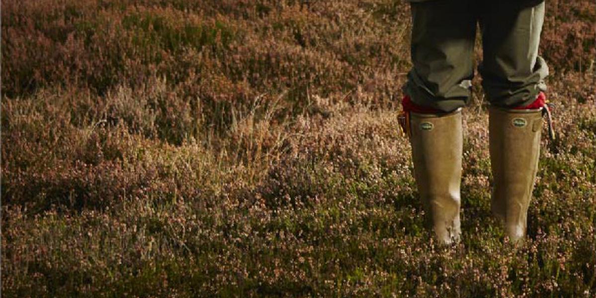 legs wearing wellies in heather