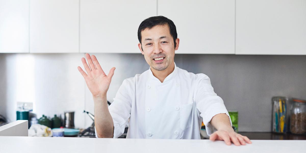 chef in whites in kitchen