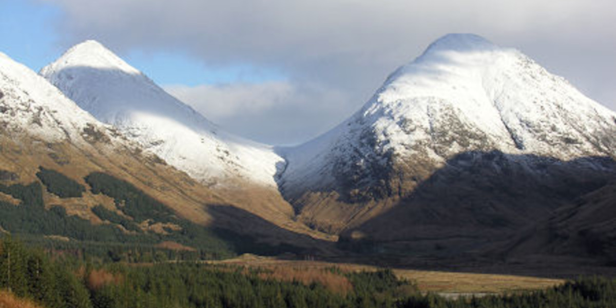 snow capped Scottish mountains