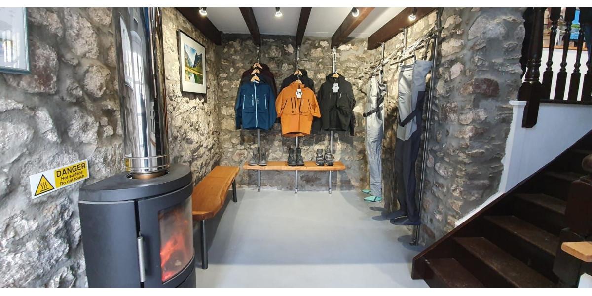 tackle shop wood burner and clothes rails