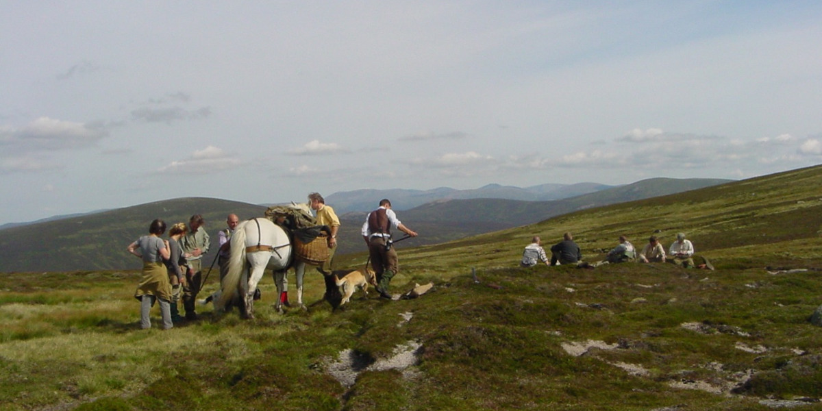 group of people and pony on Scottish grouse moor
