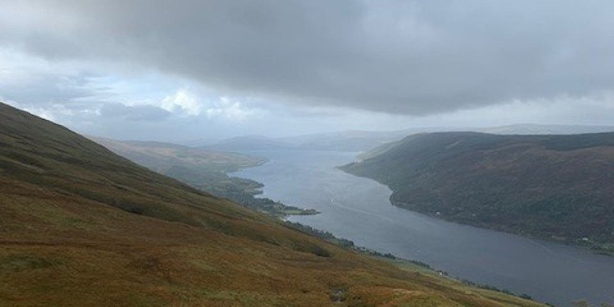 view from Scottish mountain over Loch Fyne