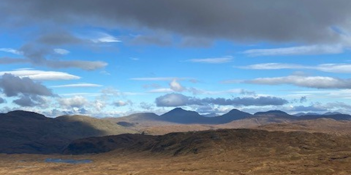 Scottish mountains and blue sky