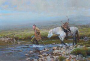peinture d'un homme traversant une brûlure avec un poney