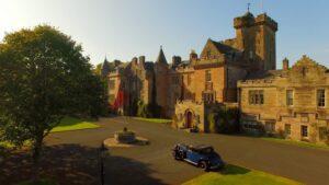 glenapp castle with vintage car
