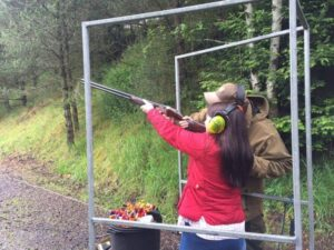 girl clay pigeon shooting