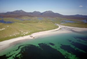 aerial view of south uist coastline