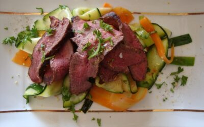 Game Meat and Fish Recipes – Nichola Fletcher's sliced venison steak with vegetable ribbons